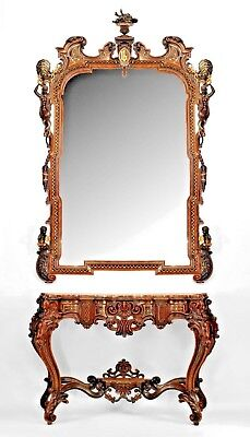 Pair of Italian Rococo Style Rosewood Console with Rouge Siena Marble Top