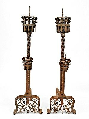 Pair of Italian Renaissance Style Wrought Iron Andirons