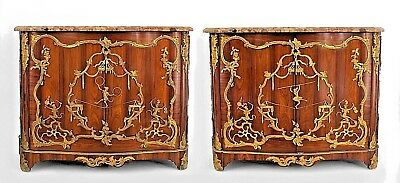 Pair of French Louis XV (Late 19th Cent) rosewood 2 door commodes with bronze do