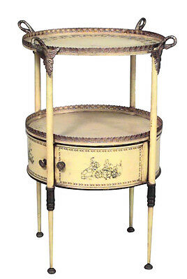 Italian Neo-classic Style (19th Cent) Tole Round Tray Top End Table