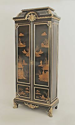 French Victorian (19/20th Cent) 2 door black lacquered chinoiserie decorated arm