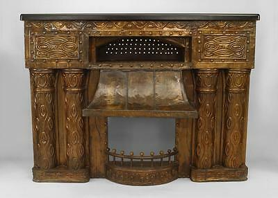 Austrian Secessionist embossed brass fireplace with double column design sides a