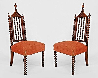 Pair of American Gothic Revival (Mid 19th Cent.) Mahogany Side Chairs