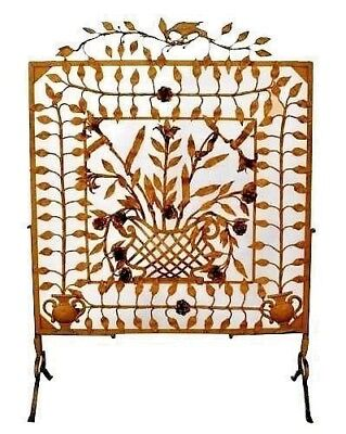 American Victorian Painted Wrought Iron Large Filigree Fire Screen