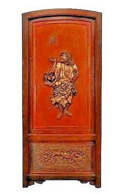 Asian Chinese style (19th Cent) rosewood and brass inlaid framed rounded top doo