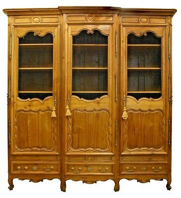 French Provincial (18/19th Cent) walnut armoire cabinet with 3 drawers at bottom