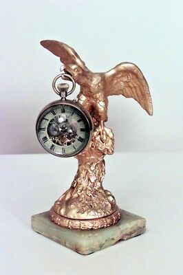 French Victorian small gilt eagle perched on pedestal with green onyx square bas