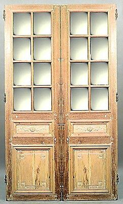 Pair of French Loouis XVI style (19th Cent) stripped doors with mirror on on sid