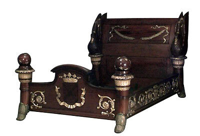 French Empire style mahogany and bronze & gilt trimmed queen size bed with swan
