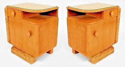 Pair of French Art Deco Oak and Burl Wood Trim Bedside Commodes with Small Shelf