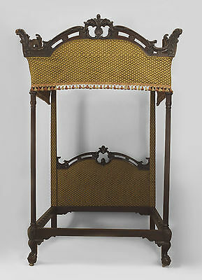 English Georgian style carved mahogany 4 post bed with upholstered canopy (queen