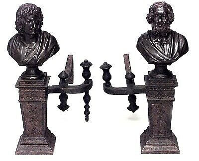 Pair of Italian Neo-Classic Style (19th Cent) Bronze Andirons of Busts of Homer