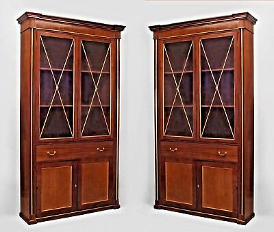 Pair of Russian (circa 1820) plum pudding mahogany bookcase cabinets with brass
