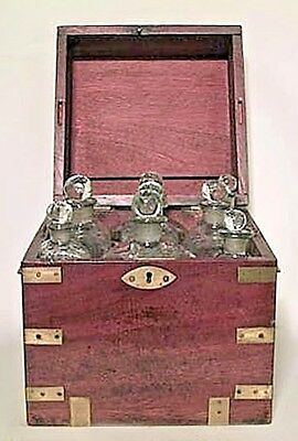 English Victorian Mahogany and Brass Trimmed Campaign Style Tantalus Set Case