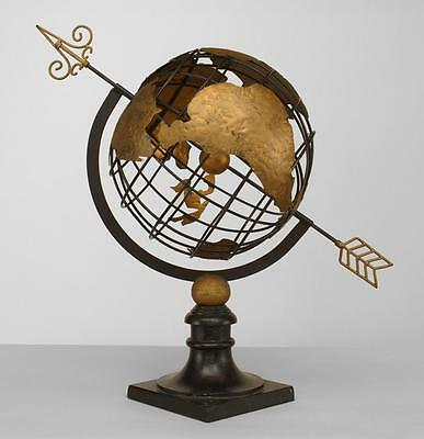 Italian Mid-Century modern painted iron armillary globe with gold Continents sup