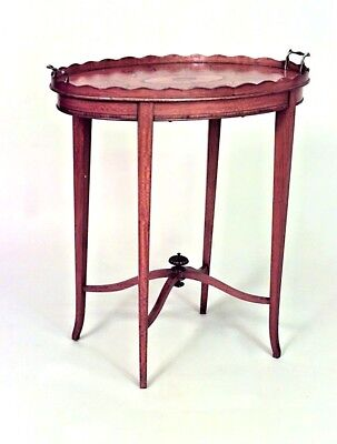 English Adam style (19th Cent) satinwood oval end table with inlaid medallion on