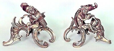 Pair of French Louis XV style (20th Cent) Bronze Dore Andirons