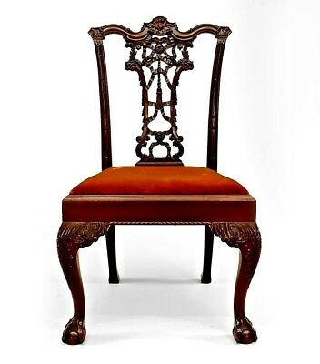 English Chippendale Style (19th Cent) Ribbon Back Side Chair