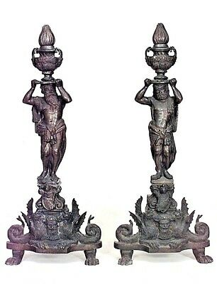 Pair of Italian Renaissance Style (19th Cent) Bronze Andirons