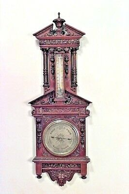 English Victorian Walnut Carved Wall Barometer and Thermometer