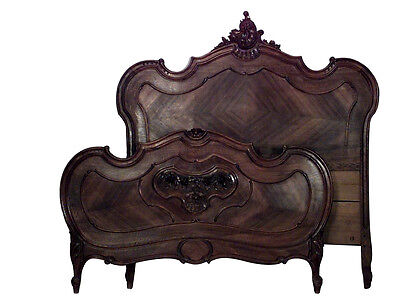 French Louis XV Provincial style (19/20th Cent) walnut full size bed with floral