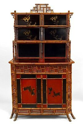 English Regency style bamboo and lacquered etagere cabinet with inlaid panels on
