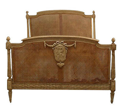 French Louis XVI style (19/20th Cent) stripped full size bed with cane panels an