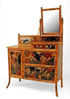 English Victorian style (20th Cent) bamboo and chinoiserie decorated lacquered p