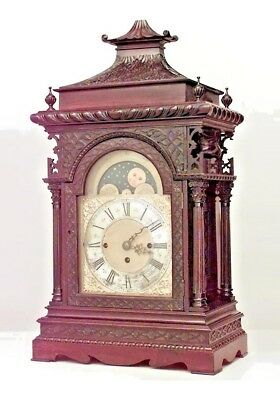 English Georgian Chinese Chippendale Style Mahogany Mantel Clock with Pagoda Top