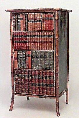 English Victorian bamboo and black lacquered small bookcase cabinet with leather