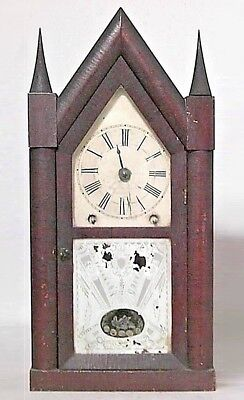 American Victorian Mahogany Mantel Clock with Steeple Top (not working)