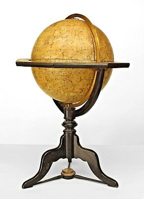 Continental (German 19th Cent) celestial globe with compass on wooden tripod bas
