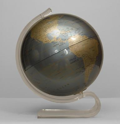 American contemporary metal globe of the world on a lucite stand