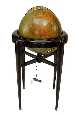 American Art Deco (Pre-WWII) globe of the world with an internal light resting i