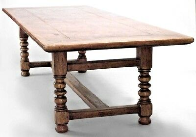 English Renaissance Style (19/20th Cent) Oak Refectory Table with Turned Legs