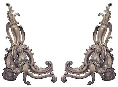 Pair of French Louis XV Style (19th Cent) Bronze Dore Scroll Design Andirons