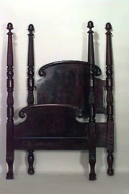 American Empire style mahogany 4 poster single size bed with acorn finials to th