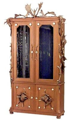 Rustic Continental (German) Oak and Horn Trimmed 4 Door Bookcase Cabinet
