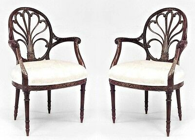 Pair of English Georgian Style Mahogany Arm Chairs with Carved Palmette Design