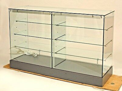 Modern Glass Showcase Cabinet With Steel U0026 Aluminum Fittings With 2 Sliding  Mirr