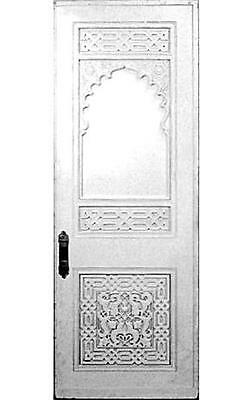 Large Moorish white painted and carved door with arch and lattice design (with s