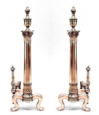 Pair of English Adam style (19/20th Cent) brass andirons with column design and