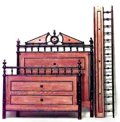 French Victorian Faux Bamboo Pine and Mahogany Single Size Bed