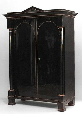 Austrian Biedermeier (Empire) ebonized and maple inlaid trimmed armoire cabinet