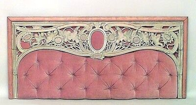 Art Nouveau stripped wall panel with pink velvet inset backing and carved floral