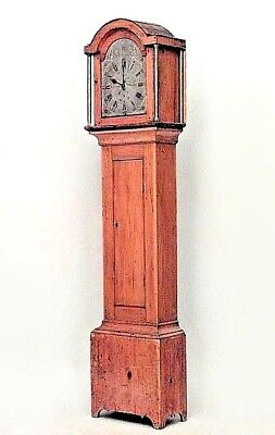 American Country Style (19th Cent) Stripped Pine Grandfather Clock