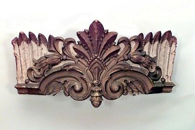 Carousel style (19th Cent) carved and painted wall plaque (valance) with crown s