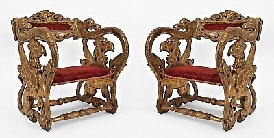 Two Pair of Italian Renaissance Style (19th Cent) Gilt Jester Arm Chairs