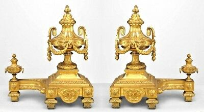 Pair of French Louis XVI Style (19th Cent) Bronze Dore Urn and Festoon Andirons