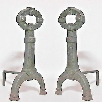 Pair of English Renaissance Style Iron Andirons with Open Handle Top (20th Cent)